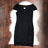 Tadashi Shoji Size 4 Cap Sleeve Black Cocktail Sheath Stitch Detail Dress