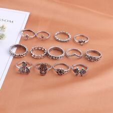 13pcs/set Boho Elephant Fatima Finger Knuckle Ring Band Midi Rings Stacking Ring