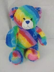 """Build A Bear Peace sign Rainbow striped Bear 14"""" plush stuffed 2011"""