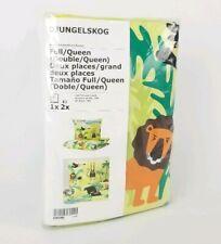 Ikea DJUNGELSKOG Duvet Cover & 2 Pillowcases Jungle Animals Green Full / Queen
