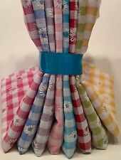 DAISY PUFF GINGHAM COTTON RICH FABRIC BY METRE FAT QUARTERS BUNDLES QUILT SEWING