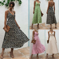 Womens Beach Slip Backless Ladies Casual Tank Floral Sundress Strappy Midi Dress