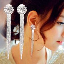 Long Drop Earrings Diamante Bridal Tassel Rhinestone Party Silver Dangle Crystal