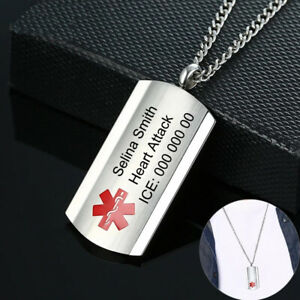 Customised Personalised Engraving Medical Alert Necklace Stainless Steel ID Name