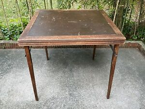 """Antique Carrom Company Folding Wood Card Game Table 30"""" x 30"""" USA Vintage"""