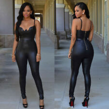 Women Bandage Leather Clubwear Playsuit Bodysuit Party Jumpsuit Romper Trousers