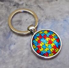 Silver Plt Glass Cabochon Puzzle Design Keychain Autism Awareness Unisex Gift