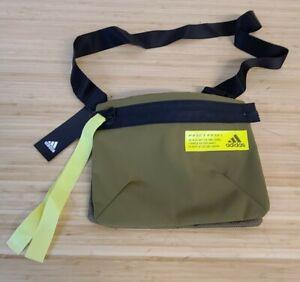 Adidas Favorites Sacoche Shoulder Bag In Wild Moss/Acid Solar Yellow.  $45 NWT