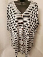 Womens Black White Striped Button Down Shirt Top Blouse Size 2X