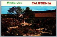 Postcard c1960s Greetings from California Garden View