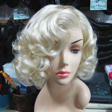 Women Short Light Blonde Wavy Curly Hair Lady Cosplay Marilyn Monroe Party Wigs