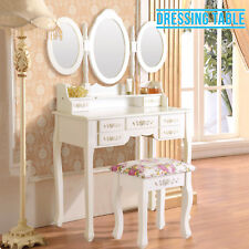 White Dressing Table Stool with Adjustable 3 Mirror 7 Drawers Bedroom Furniture