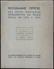 Programme. Spectacles retrospectifs Palais Royal. 1784-1895. Robert-Houdin