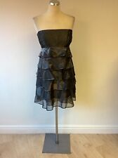 REISS SILVER GREY STRAPLESS TIERED COCKTAIL DRESS SIZE 14