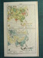 1921 Mapa ~ Asia Geológico Terciario Lands ~Lluvia~ China India Siberia Rusia