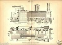 1899= LOCOMOTIVE ANTICHE = Stampa Antica = Old Engraving