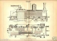 TRENI LOCOMOTIVE ANTICHE 1899 = FERROVIE Stampa Antica = Old Print