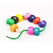 Wooden Lacing Beads With Number Blocks Threading Toy For Baby Kids Learing C