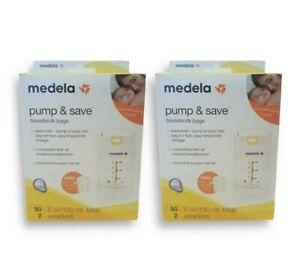 MedelaPump&SaveBreastmilk Storage Bags 50 ct + Adapters (2 Pack, 100 Total)