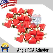 20 Pack Gold-Plated RCA Right Angle Adapters Male to Female 90° Angle Connector