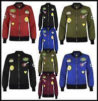 Womens Girls MA1 Padded Stylish Badges Jacket Ladies Bomber Vintage Zip Up Coat