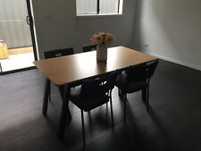 IKEA OVRARYD BAMBOO AND BLACK DINING TABLE SET WITH CHAIRS