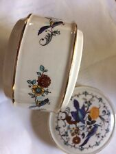 Vintage Sadler Pottery England Blue Bird Round Trinket Box Cottage Chic