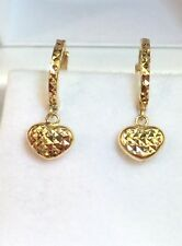 18k Solid Yellow Gold Cute Heart Dangle Hoop Earrings, Diamond Cut 1.25grams