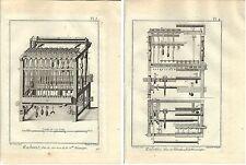 Stampa antica TESSITURA del NASTRO 2 FOGLI Enciclopedia Diderot 1786 Old print