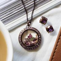 ORIGAMI OWL CHOCOLATE & Lilac Shadow LIVING LOCKET ENSEMBLE NIB FREE SHIPPING