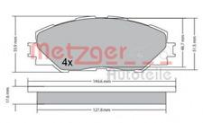 Bremsbelagsatz, Scheibenbremse für Bremsanlage Vorderachse METZGER 1170443