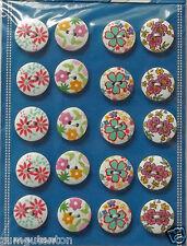 20 Holzknöpfe 18 mm mit Blütenmotiven bedruckt