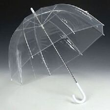 Large Clear Dome See Through Umbrella Handle Transparent Walking Brolly Ladies