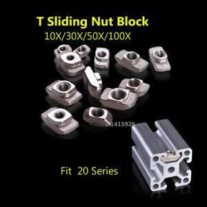 20x20 EU Aluminum Profile T-Slot Shape Interior Sliding Nut Block M3/M4/M5 50X