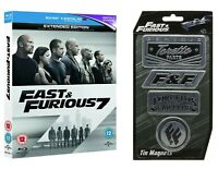 Fast And Furious 7 Blu Ray & OFFICIALLY LICENSED MAGNET SET *FAST UK DISPATCH*