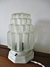 Lampe à poser plafonnier ancien BUILDING à gradins porcelaine globe verre givré