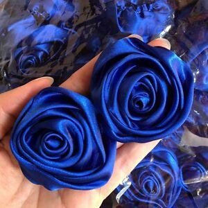 "24PC Blue 2"" Satin Ribbon Rose Flowers DIY Wedding Bridal Dress Bouquet 50mm"