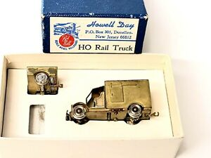Brass Red Ball HO Scale Railcar w/Trailer. Powered