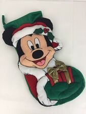 "Disney Mickey Mouse Christmas Stocking 19"" Velveteen Applique Gold Bow Velvet"