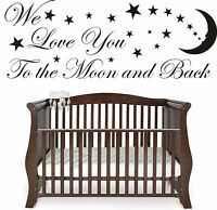 Love You To the Moon And Back Stars Wall art Sticker Quote Nursery Baby Children