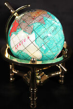 Multi-Gemstone 90mm Desktop Globe In Green Pearl on Gold Tone Base Free S&H