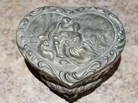 Vintage Silver Toned Heart Shaped Trinket Box Ornate Footed Love Nature Jewelry