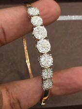 Pave 0.84 Carats Natural Diamonds Bangle Bracelet In Fine Hallmark 14K Rose Gold