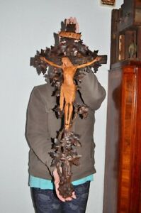 19thc Black forest ANTIQUE CRUCIFIX  Christ Cross wood mint condition 35.5in oak