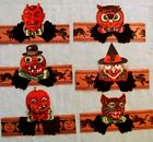 6 Vintage Halloween Party Hat Honeycomb & Cardboard Germany 1930's Devil Owl Cat