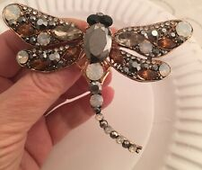 Hematite Opal and Topaz Color Crystals in Pink Gold Plated Dragonfly Pin