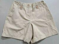 Studio Works Petite Size 8P Khaki Stretch Shorts Flat Front