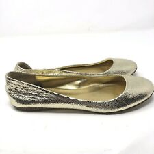 J Crew Size 8 Sparkle Metallic Gold Ballet Flats Italian Leather Round Toe