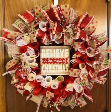 🎄MERRY CHRISTMAS 🎄BELIEVE IN THE MAGIC OF CHRISTMAS❤️DECO MESH CURLY WREATH!🎄