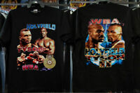 Vintage 90s Mike Tyson T Shirt Holyfield Rap Tee Double Sided Size usa.%